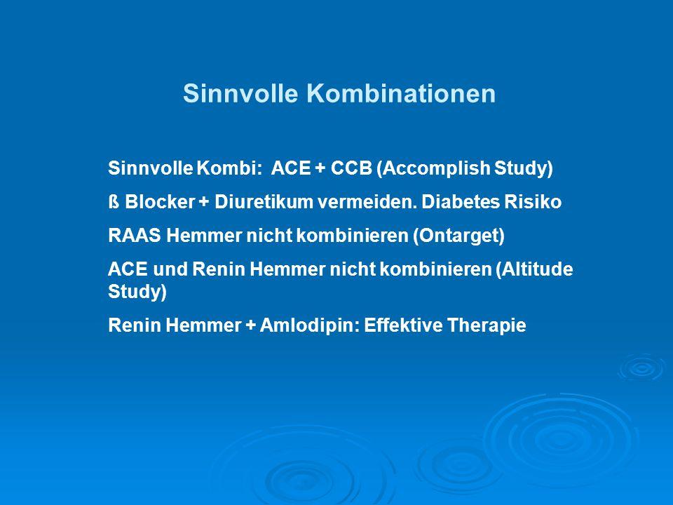 Sinnvolle Kombi: ACE + CCB (Accomplish Study) ß Blocker + Diuretikum vermeiden. Diabetes Risiko RAAS Hemmer nicht kombinieren (Ontarget) ACE und Renin