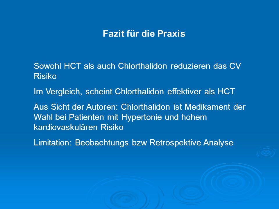 Fazit für die Praxis Sowohl HCT als auch Chlorthalidon reduzieren das CV Risiko Im Vergleich, scheint Chlorthalidon effektiver als HCT Aus Sicht der A