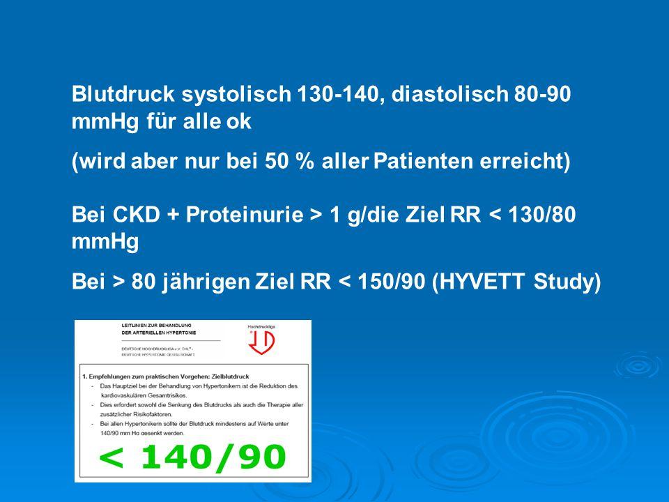 Blutdruck systolisch 130-140, diastolisch 80-90 mmHg für alle ok (wird aber nur bei 50 % aller Patienten erreicht) Bei CKD + Proteinurie > 1 g/die Zie