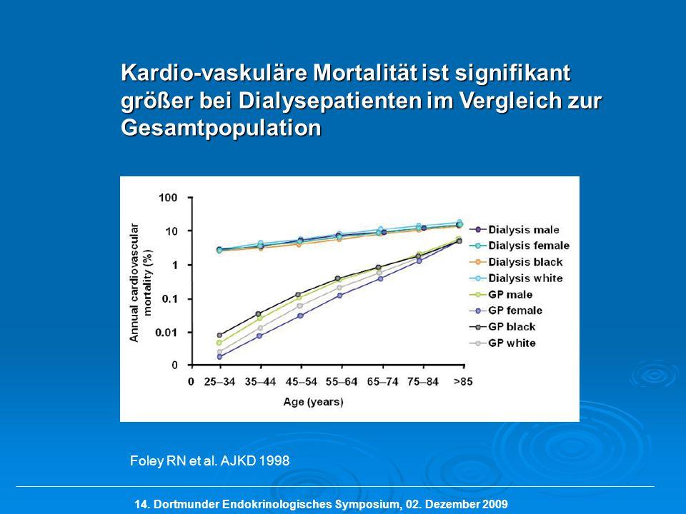 Kardio-vaskuläre Mortalität ist signifikant größer bei Dialysepatienten im Vergleich zur Gesamtpopulation Foley RN et al. AJKD 1998 14. Dortmunder End