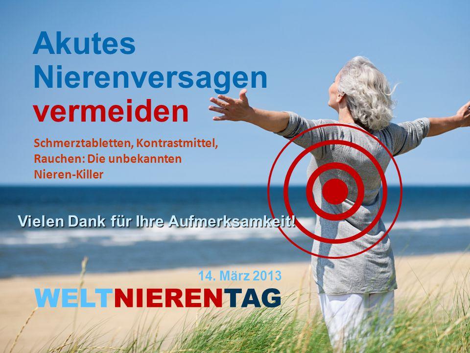 WELTNIERENTAG Akutes Nierenversagen vermeiden 14. März 2013 Schmerztabletten, Kontrastmittel, Rauchen: Die unbekannten Nieren-Killer Vielen Dank für I