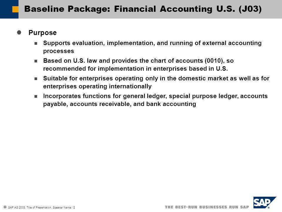  SAP AG 2003, Title of Presentation, Speaker Name / 3 Baseline Package: Financial Accounting U.S.