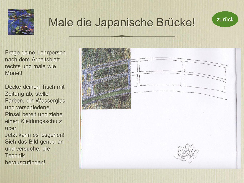 Male die Japanische Brücke. Frage deine Lehrperson nach dem Arbeitsblatt rechts und male wie Monet.