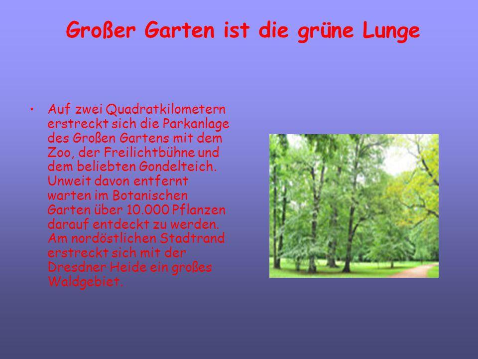 Großer Garten ist die grüne Lunge Auf zwei Quadratkilometern erstreckt sich die Parkanlage des Großen Gartens mit dem Zoo, der Freilichtbühne und dem