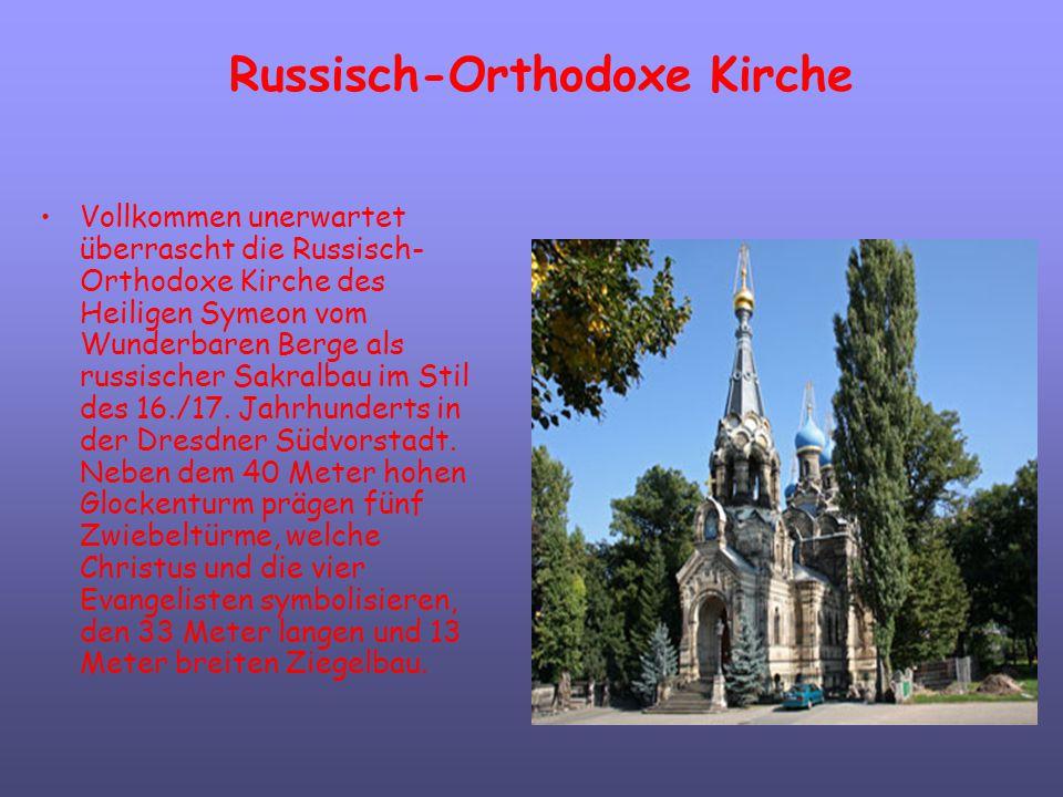 Russisch-Orthodoxe Kirche Vollkommen unerwartet überrascht die Russisch- Orthodoxe Kirche des Heiligen Symeon vom Wunderbaren Berge als russischer Sak