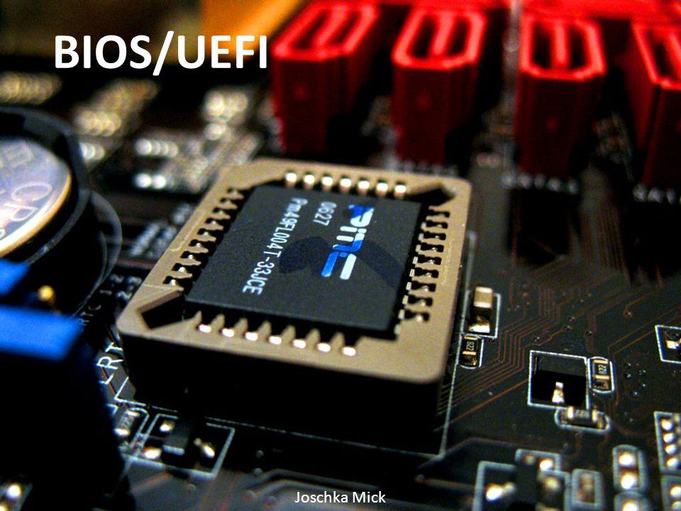 """BIOS """"Basic Input/Output System Auf nicht-flüchtigem Speicher einprogrammiert Herstellung der Funktion eines Computers Erfunden 1975 durch Gary Kildall Verwendung hauptsächlich bei 16-Bit und 32- Bit-Systemen"""