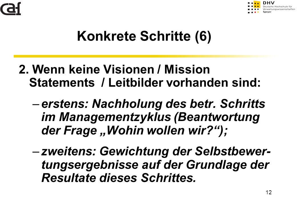 12 2. Wenn keine Visionen / Mission Statements / Leitbilder vorhanden sind: –erstens: Nachholung des betr. Schritts im Managementzyklus (Beantwortung