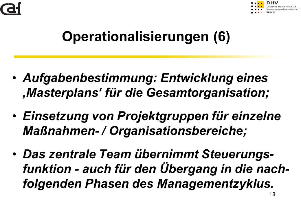 18 Aufgabenbestimmung: Entwicklung eines 'Masterplans' für die Gesamtorganisation; Einsetzung von Projektgruppen für einzelne Maßnahmen- / Organisatio
