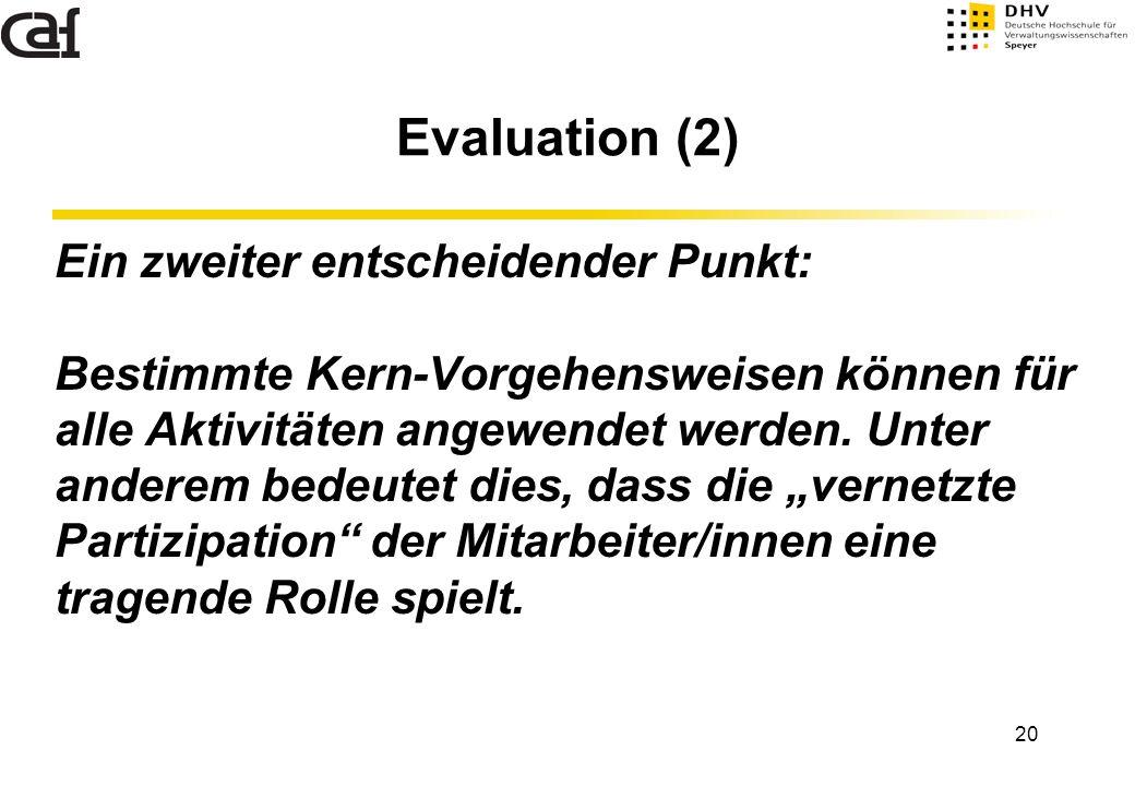 20 Evaluation (2) Ein zweiter entscheidender Punkt: Bestimmte Kern-Vorgehensweisen können für alle Aktivitäten angewendet werden. Unter anderem bedeut