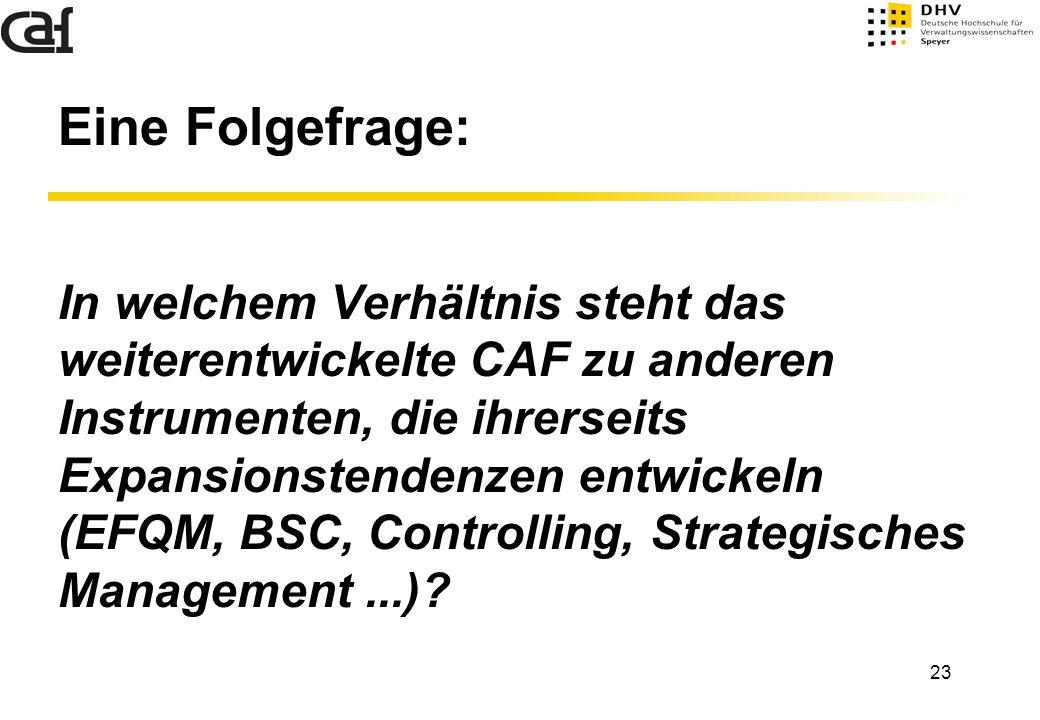 23 Eine Folgefrage: In welchem Verhältnis steht das weiterentwickelte CAF zu anderen Instrumenten, die ihrerseits Expansionstendenzen entwickeln (EFQM
