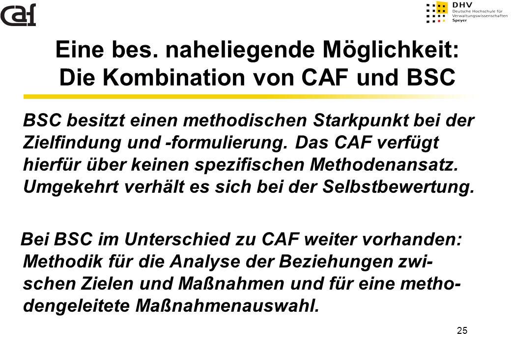 25 Eine bes. naheliegende Möglichkeit: Die Kombination von CAF und BSC BSC besitzt einen methodischen Starkpunkt bei der Zielfindung und -formulierung