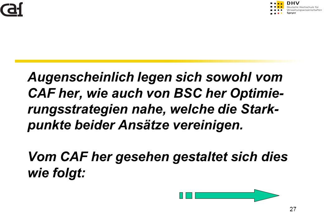 27 Augenscheinlich legen sich sowohl vom CAF her, wie auch von BSC her Optimie- rungsstrategien nahe, welche die Stark- punkte beider Ansätze vereinig