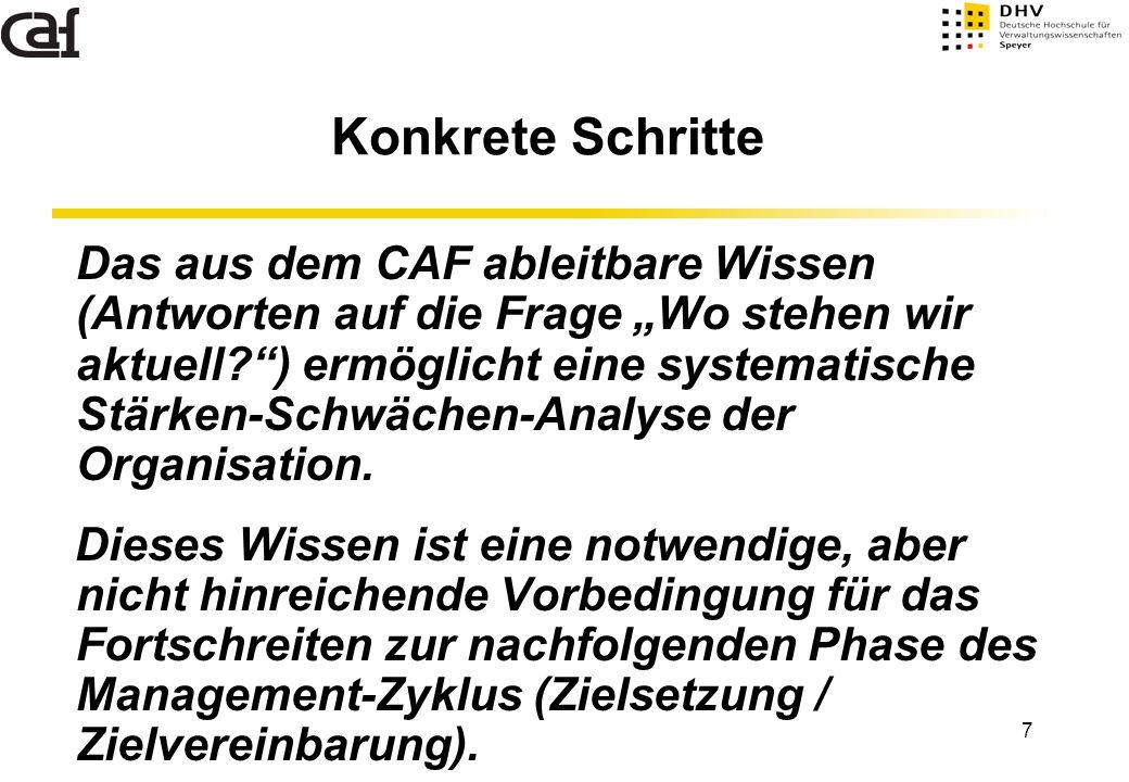 """7 Konkrete Schritte Das aus dem CAF ableitbare Wissen (Antworten auf die Frage """"Wo stehen wir aktuell?"""") ermöglicht eine systematische Stärken-Schwäch"""