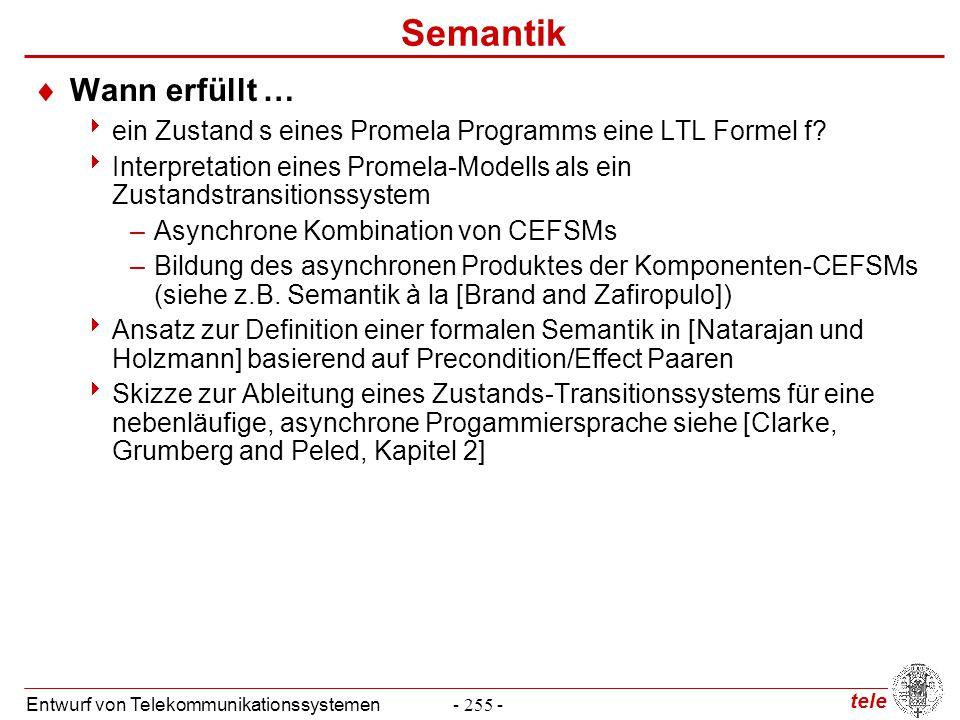tele Entwurf von Telekommunikationssystemen- 255 - Semantik  Wann erfüllt …  ein Zustand s eines Promela Programms eine LTL Formel f?  Interpretati