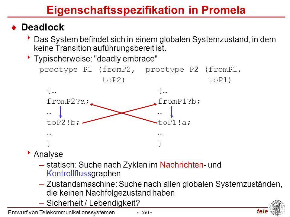 tele Entwurf von Telekommunikationssystemen- 260 - Eigenschaftsspezifikation in Promela  Deadlock  Das System befindet sich in einem globalen System