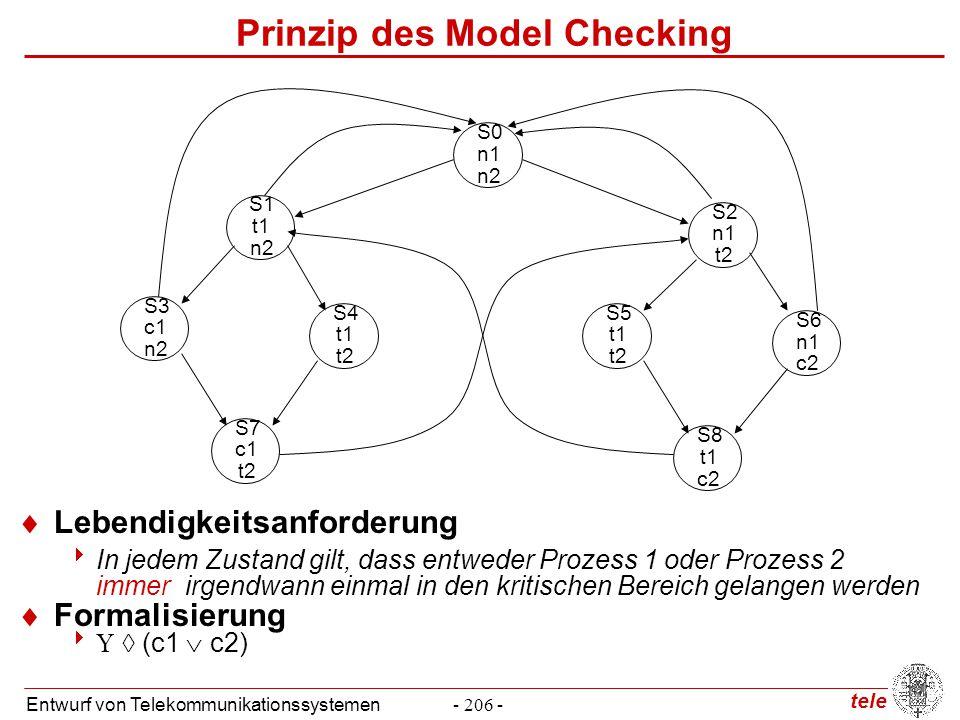 tele Entwurf von Telekommunikationssystemen- 206 - Prinzip des Model Checking  Lebendigkeitsanforderung  In jedem Zustand gilt, dass entweder Prozes