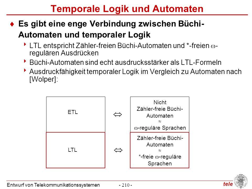 tele Entwurf von Telekommunikationssystemen- 210 - Temporale Logik und Automaten  Es gibt eine enge Verbindung zwischen Büchi- Automaten und temporal