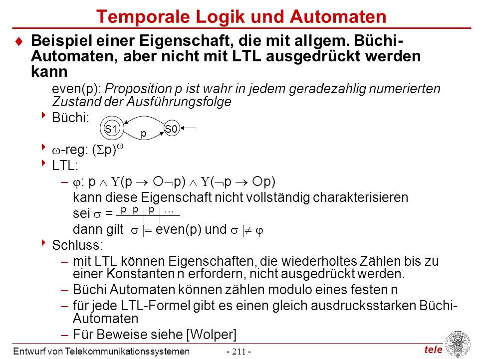 tele Entwurf von Telekommunikationssystemen- 211 -  Beispiel einer Eigenschaft, die mit allgem. Büchi- Automaten, aber nicht mit LTL ausgedrückt werd