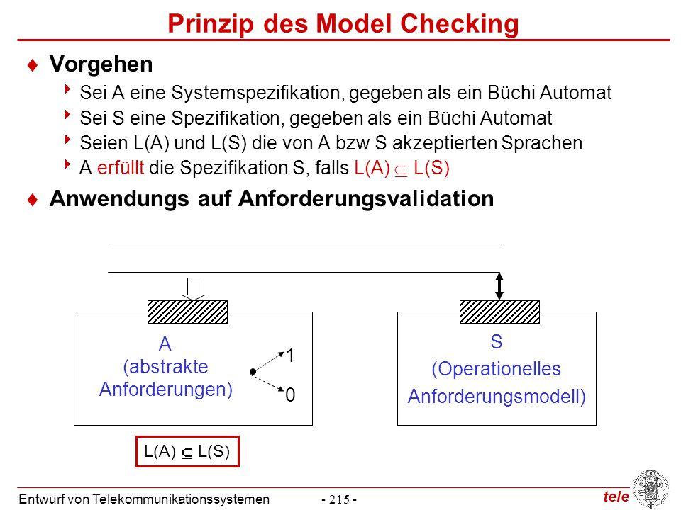 tele Entwurf von Telekommunikationssystemen- 215 - Prinzip des Model Checking  Vorgehen  Sei A eine Systemspezifikation, gegeben als ein Büchi Autom