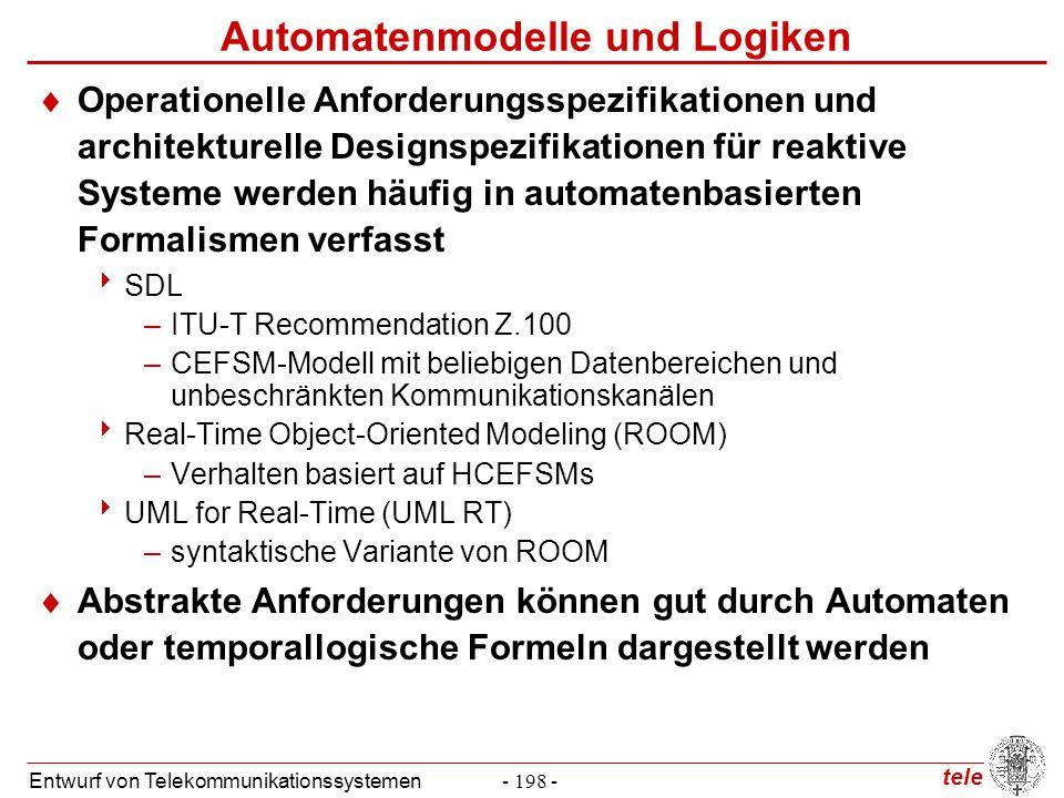 tele Entwurf von Telekommunikationssystemen- 219 - Prinzip des Model Checking  Konstruktion eines Schnittmengen-Büchi-Automaten  Seien M  = (Q , q 0 , A,  , F  ) und M  = (Q , q 0 , A,  , F  ) zwei Büchi-Automaten.