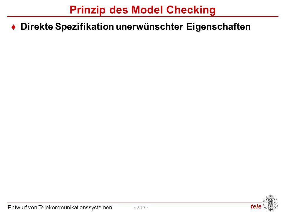 tele Entwurf von Telekommunikationssystemen- 217 - Prinzip des Model Checking  Direkte Spezifikation unerwünschter Eigenschaften