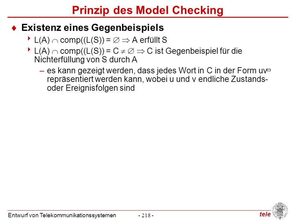 tele Entwurf von Telekommunikationssystemen- 218 - Prinzip des Model Checking  Existenz eines Gegenbeispiels  L(A)  comp((L(S)) =   A erfüllt S 