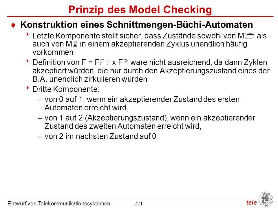 tele Entwurf von Telekommunikationssystemen- 221 - Prinzip des Model Checking  Konstruktion eines Schnittmengen-Büchi-Automaten  Letzte Komponente s