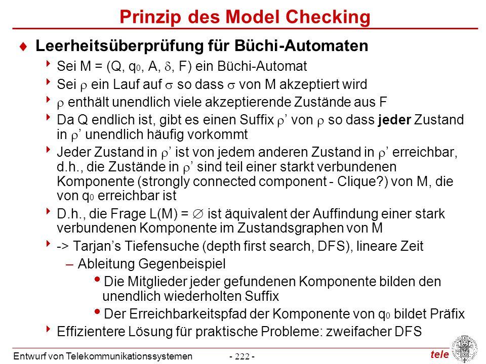 tele Entwurf von Telekommunikationssystemen- 222 - Prinzip des Model Checking  Leerheitsüberprüfung für Büchi-Automaten  Sei M = (Q, q 0, A, , F) e