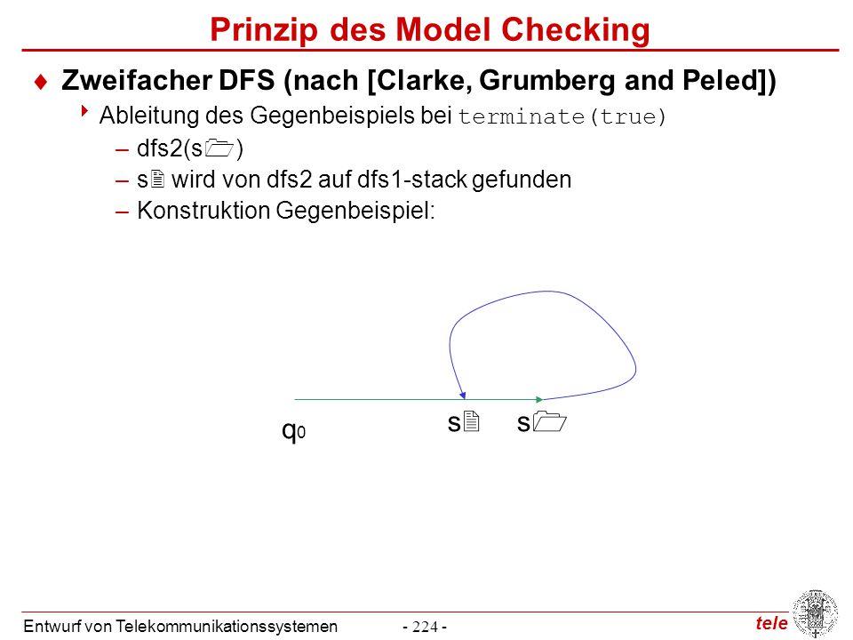 tele Entwurf von Telekommunikationssystemen- 224 - Prinzip des Model Checking  Zweifacher DFS (nach [Clarke, Grumberg and Peled])  Ableitung des Geg