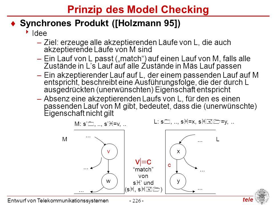 tele Entwurf von Telekommunikationssystemen- 226 - Prinzip des Model Checking  Synchrones Produkt ([Holzmann 95])  Idee –Ziel: erzeuge alle akzeptie