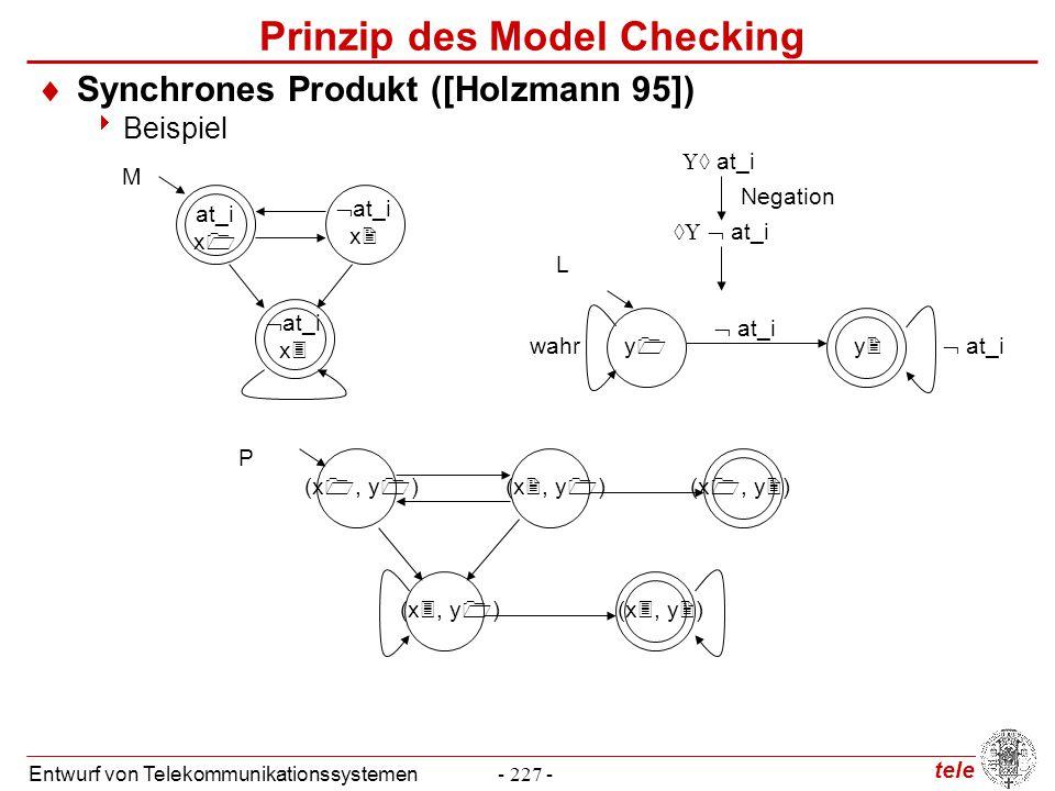 tele Entwurf von Telekommunikationssystemen- 227 - Prinzip des Model Checking  Synchrones Produkt ([Holzmann 95])  Beispiel at_i x   at_i x   at
