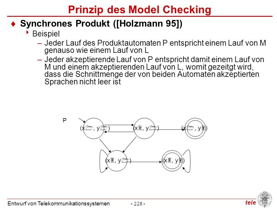 tele Entwurf von Telekommunikationssystemen- 228 - Prinzip des Model Checking  Synchrones Produkt ([Holzmann 95])  Beispiel –Jeder Lauf des Produkta