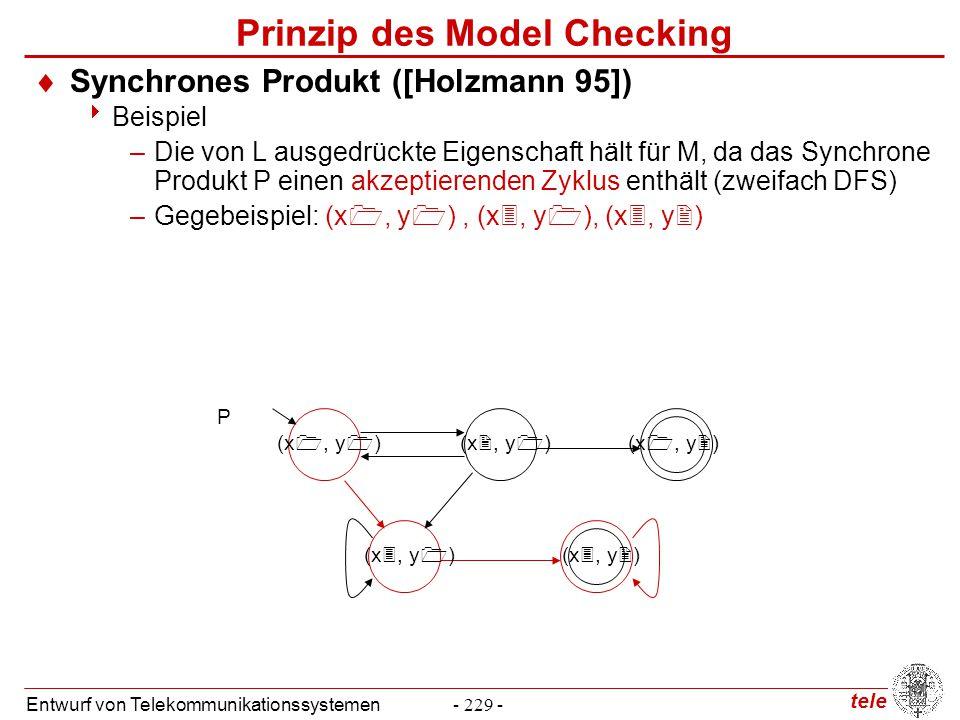 tele Entwurf von Telekommunikationssystemen- 229 - Prinzip des Model Checking  Synchrones Produkt ([Holzmann 95])  Beispiel –Die von L ausgedrückte