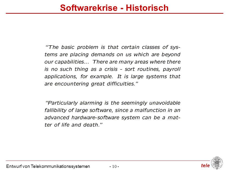 tele Entwurf von Telekommunikationssystemen- 10 - Softwarekrise - Historisch