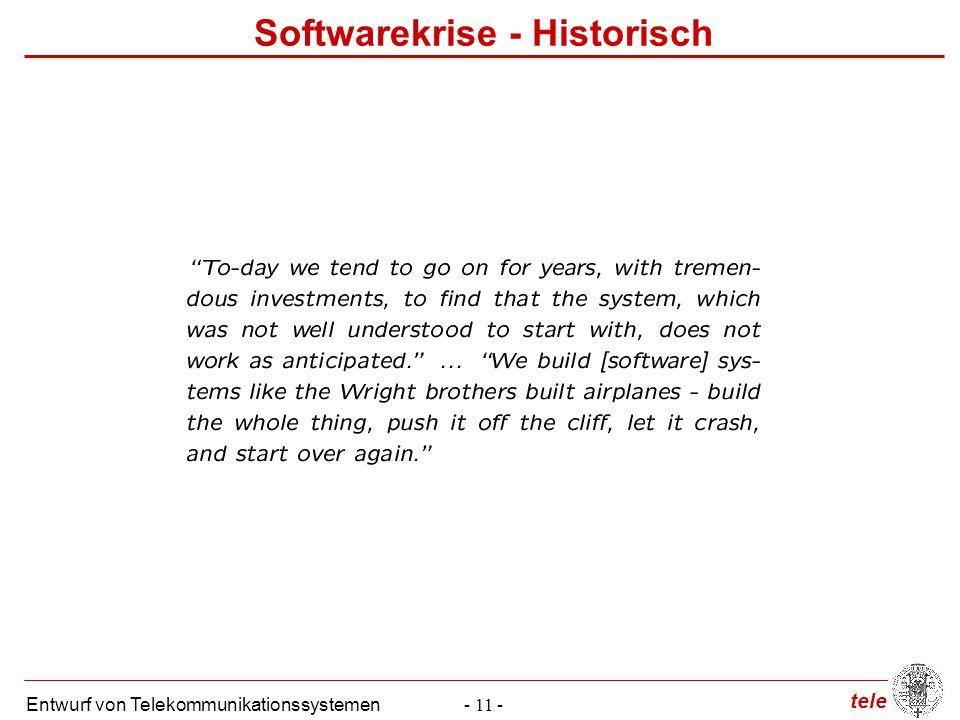 tele Entwurf von Telekommunikationssystemen- 11 - Softwarekrise - Historisch