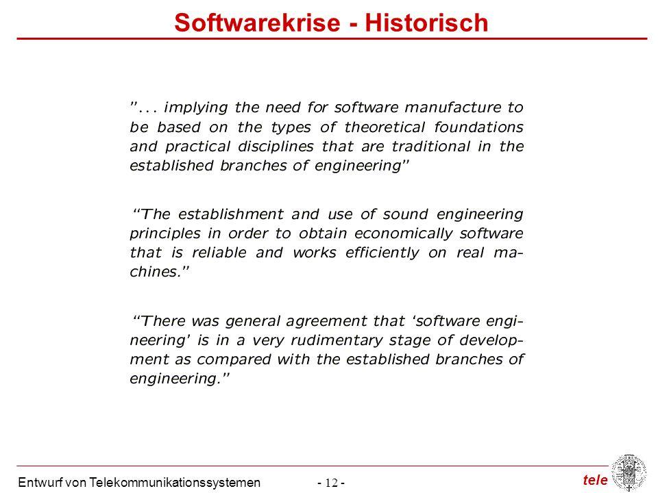tele Entwurf von Telekommunikationssystemen- 12 - Softwarekrise - Historisch