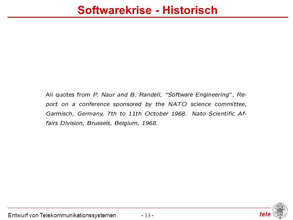 tele Entwurf von Telekommunikationssystemen- 13 - Softwarekrise - Historisch
