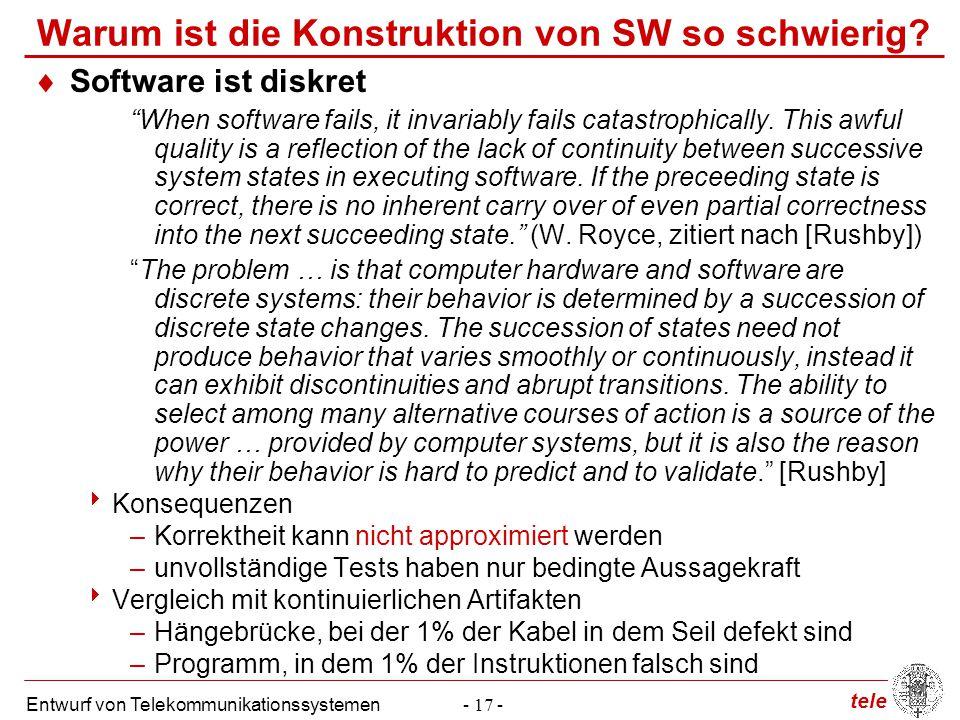 """tele Entwurf von Telekommunikationssystemen- 17 - Warum ist die Konstruktion von SW so schwierig?  Software ist diskret """"When software fails, it inva"""