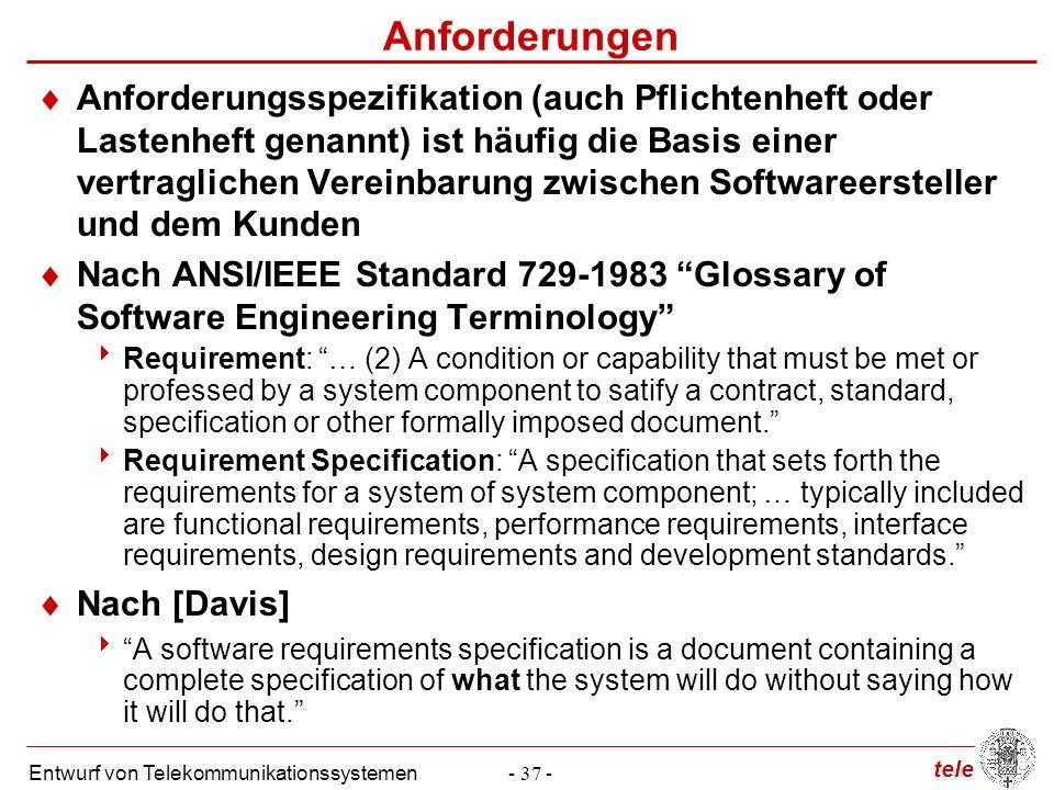 tele Entwurf von Telekommunikationssystemen- 37 - Anforderungen  Anforderungsspezifikation (auch Pflichtenheft oder Lastenheft genannt) ist häufig di
