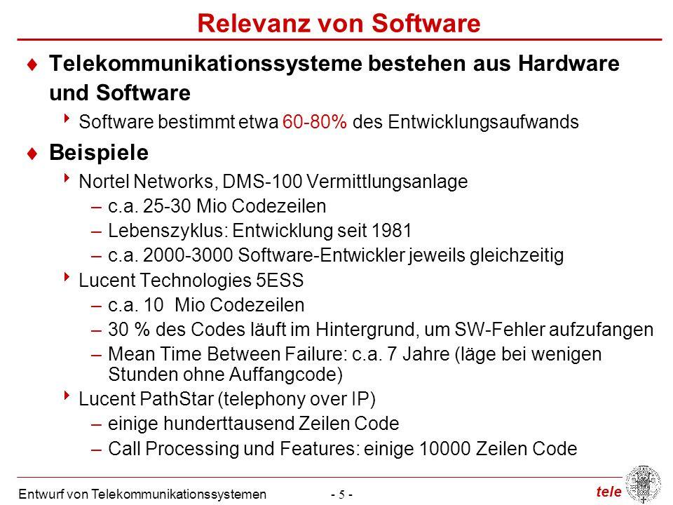 tele Entwurf von Telekommunikationssystemen- 5 - Relevanz von Software  Telekommunikationssysteme bestehen aus Hardware und Software  Software besti