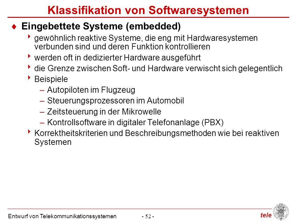 tele Entwurf von Telekommunikationssystemen- 52 - Klassifikation von Softwaresystemen  Eingebettete Systeme (embedded)  gewöhnlich reaktive Systeme,