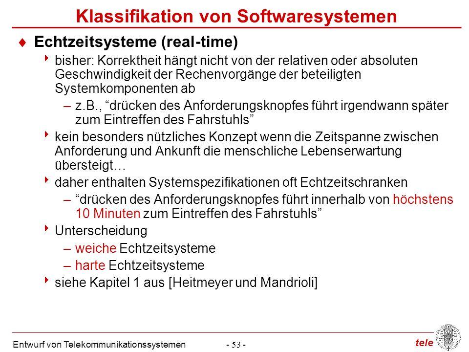 tele Entwurf von Telekommunikationssystemen- 53 - Klassifikation von Softwaresystemen  Echtzeitsysteme (real-time)  bisher: Korrektheit hängt nicht