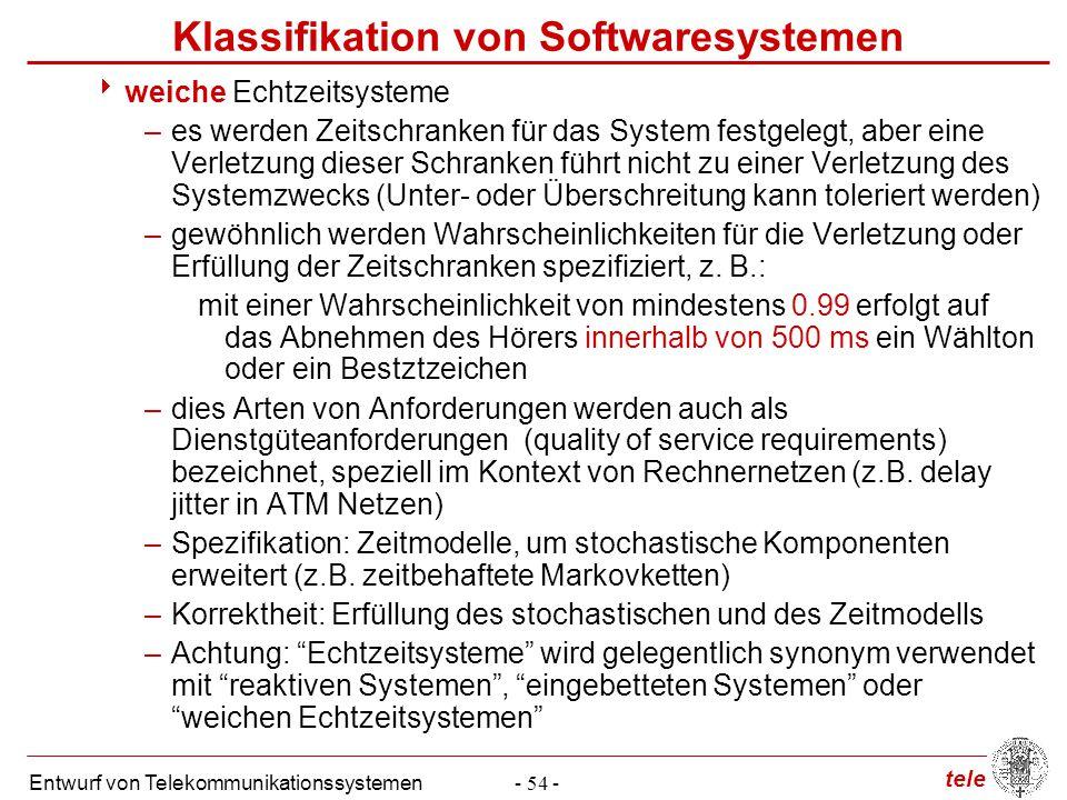 tele Entwurf von Telekommunikationssystemen- 54 - Klassifikation von Softwaresystemen  weiche Echtzeitsysteme –es werden Zeitschranken für das System
