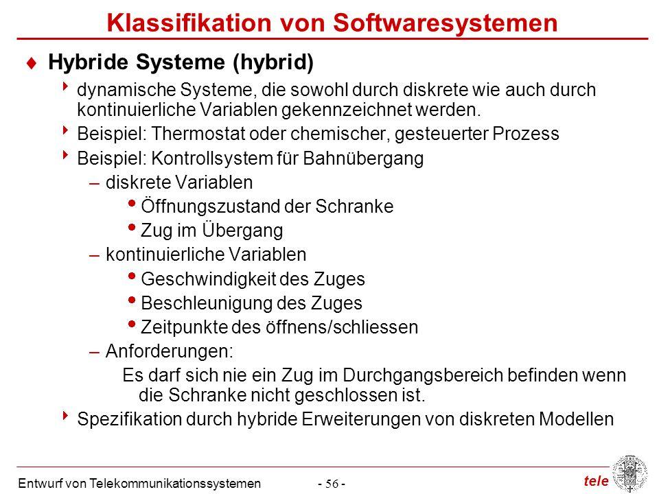 tele Entwurf von Telekommunikationssystemen- 56 - Klassifikation von Softwaresystemen  Hybride Systeme (hybrid)  dynamische Systeme, die sowohl durc