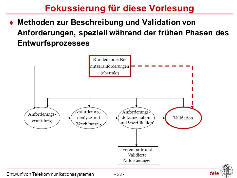 tele Entwurf von Telekommunikationssystemen- 58 - Anforderungs- analyse und Vereinbarung Anforderungs- dokumentation und Spezifikation Validation Kund