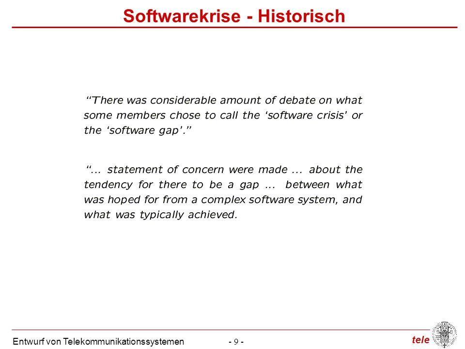 tele Entwurf von Telekommunikationssystemen- 9 - Softwarekrise - Historisch
