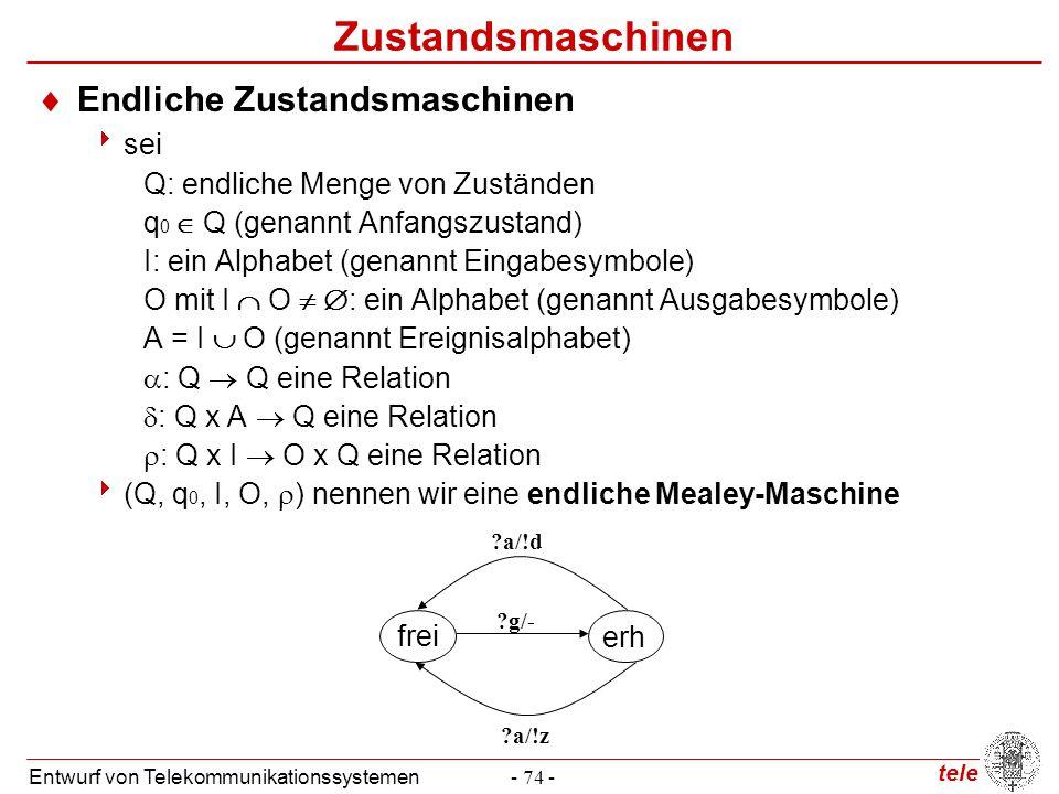 tele Entwurf von Telekommunikationssystemen- 74 - Zustandsmaschinen  Endliche Zustandsmaschinen  sei Q: endliche Menge von Zuständen q 0  Q (genann