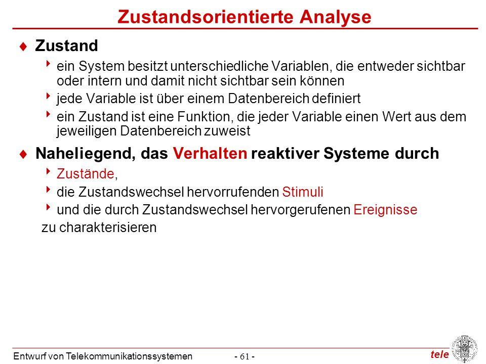 tele Entwurf von Telekommunikationssystemen- 61 - Zustandsorientierte Analyse  Zustand  ein System besitzt unterschiedliche Variablen, die entweder