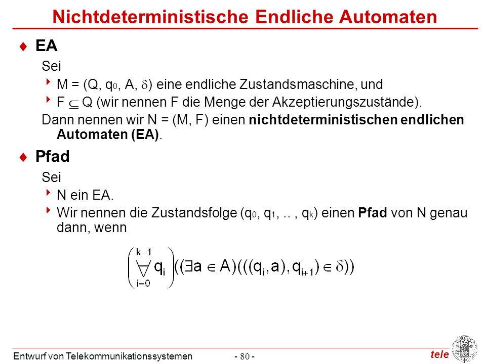 tele Entwurf von Telekommunikationssystemen- 80 - Nichtdeterministische Endliche Automaten  EA Sei  M = (Q, q 0, A,  ) eine endliche Zustandsmaschi