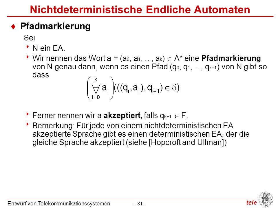 tele Entwurf von Telekommunikationssystemen- 81 - Nichtdeterministische Endliche Automaten  Pfadmarkierung Sei  N ein EA.  Wir nennen das Wort a =